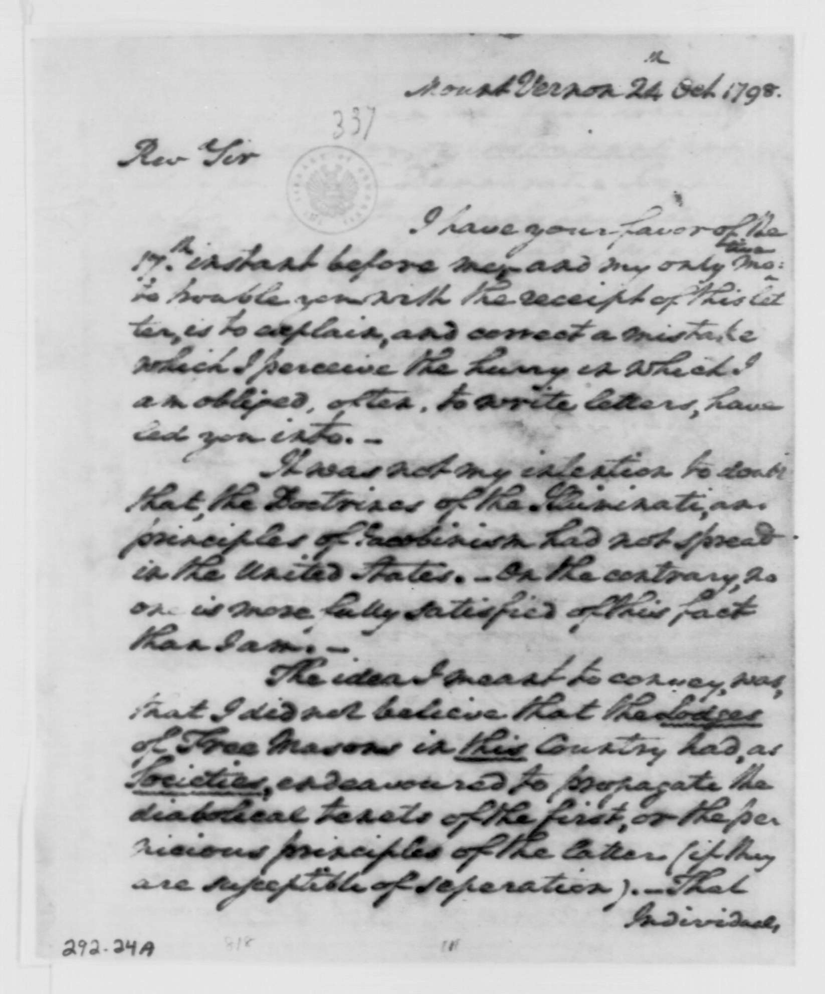 George Washington Illuminati Letter Oct 24th, 1798 - page 1 of 4
