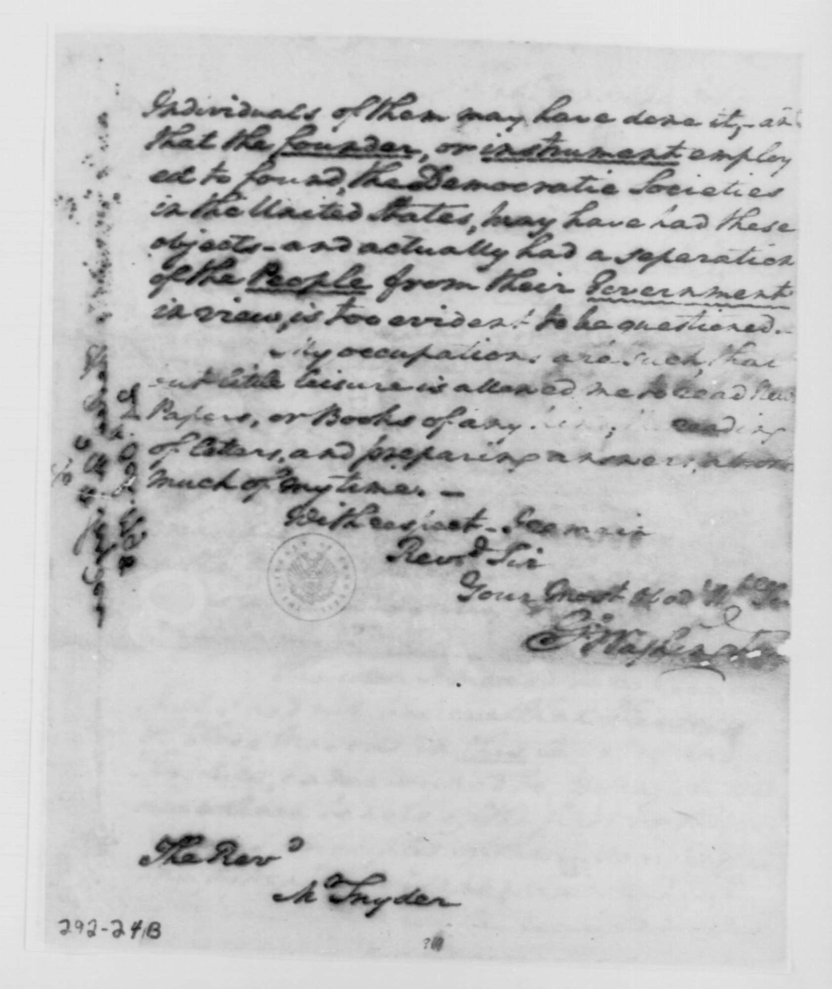 George Washington Illuminati Letter Oct 24th, 1798 - image 3 of 4