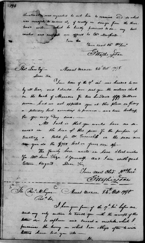 George Washington Illuminati Letter Oct 24th, 1798 - image 1 of 2