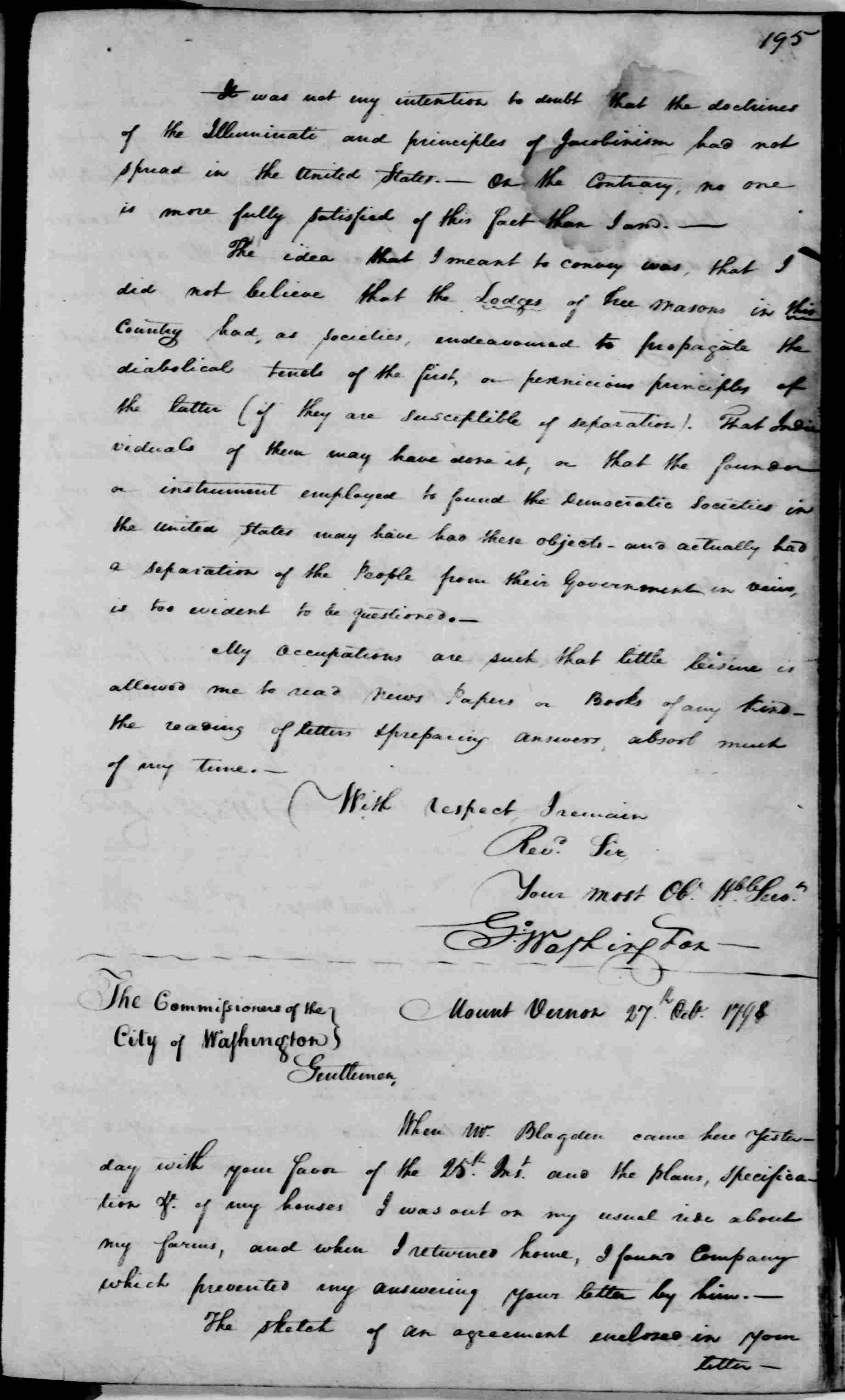 George Washington Illuminati Letter Oct 24th, 1798 - image 2 of 2